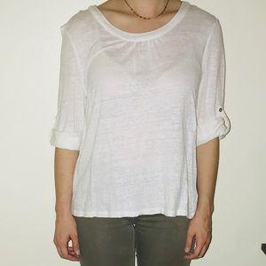 White 3/4 Length Sleeve Blouse